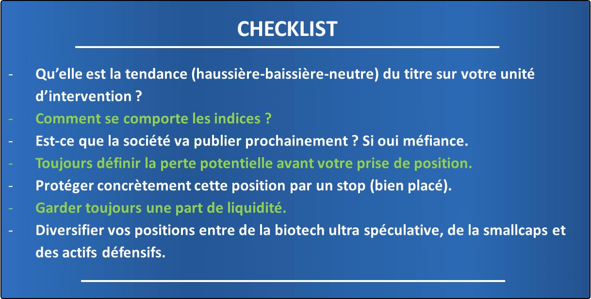 La checklist du money management en bourse à réaliser obligatoirement