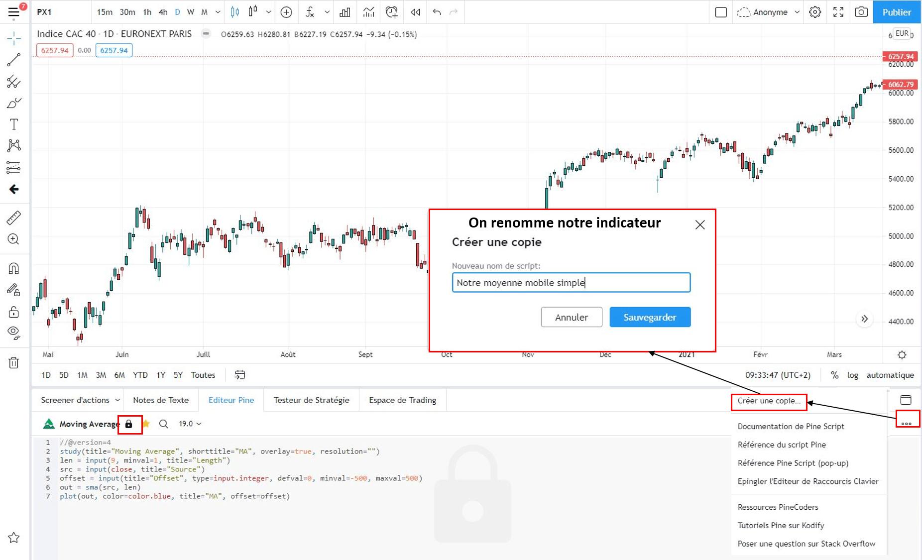 Créer son script dans Tradingview