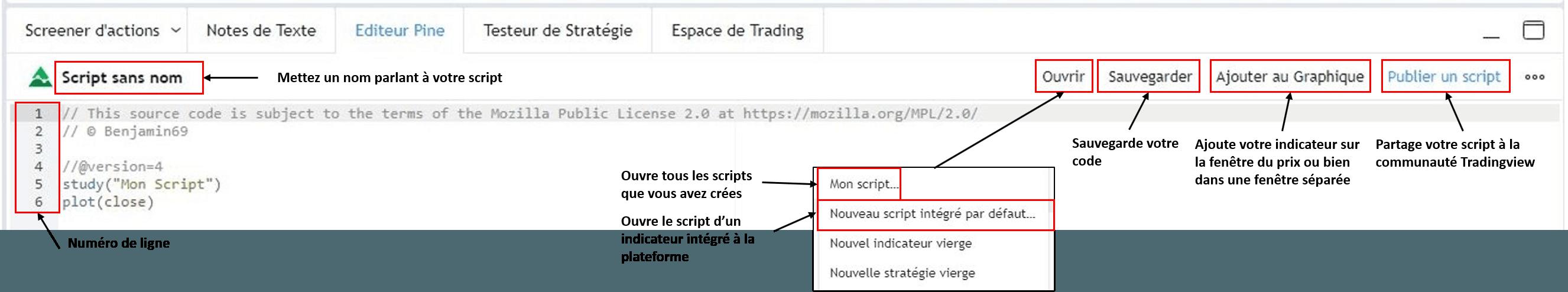 Nouveau script interface Tradingview